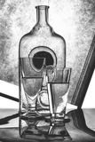 Still life with glass bottles and glasses. Black and white still life with glass bottles and glasses stock photos