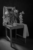 Black and white still life Tulips on a chair. Black and white Still life with light and dark tulips in a vase and with a white scarf on a chair royalty free stock photography