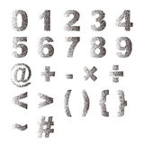 Black white stipple dots texture font typographic letters number. And notation Royalty Free Stock Photos