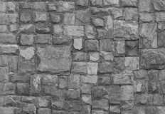 Black and white stone wall Royalty Free Stock Images