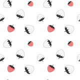 Black and white strawberry cute seamless pattern background illustration Stock Photo