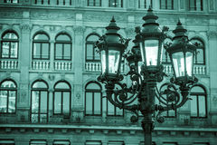 Black and White Street Lamp and Historic German Building Stock Image