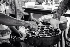 black&white streetfood thaifood stock afbeeldingen