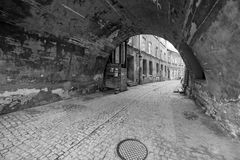 Black and white streets of the old town in Lublin Royalty Free Stock Photography