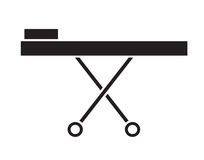 Black and white stretcher icon vector isolated in white background. Stock Photo