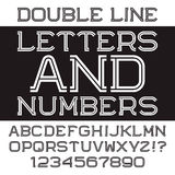 Black white strip letters and numbers. Double line flat font. Stock Image