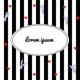 Black and white striped background with cartoon gray rabbits and red hearts. With place for congratulations stock illustration