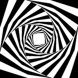 Black and White Striped Helix  Expanding from the Center. Optical Illusion of Depth and Volume. Vector Illustration.Black and White Striped Helix  Expanding Royalty Free Stock Photos