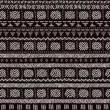 Black and white striped ornament traditional african mudcloth fabric seamless pattern, vector Stock Images
