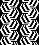 Black and white striped rotated hexagons Royalty Free Stock Photography