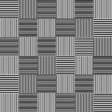 Black and white striped squares simple patchwork blanket seamless pattern, vector Royalty Free Stock Photo