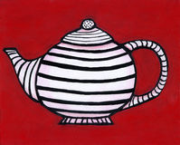 Black and White Striped Teapot. An illustration / painting of a black and white striped teapot on a red background. I am the artist and hold the copyright Royalty Free Stock Images