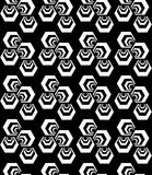 Black and white striped three turned hexagons Stock Photos