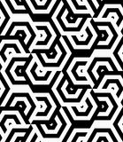 Black and white striped turned overlapping hexagons Stock Photos