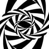 Black and White Striped Vortex Converging to the Center. Optical Illusion of Depth and Volume. Vector Illustration. Black and White Striped Vortex Converging to royalty free illustration