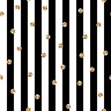 Black and White Stripes With Gold Polka Dots Seamless Pattern stock photography