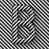 Black and white stripes Letter B 3D. Render illustration stock illustration