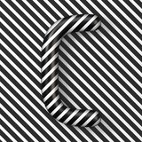 Black and white stripes Letter C 3D. Render illustration royalty free illustration