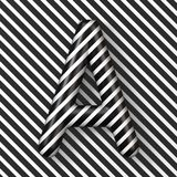 Black and white stripes Letter A 3D. Render illustration royalty free illustration