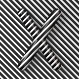 Black and white stripes Letter X 3D. Render illustration vector illustration