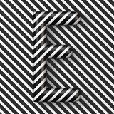 Black and white stripes Letter E 3D. Render illustration stock illustration