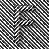Black and white stripes Letter F 3D. Render illustration royalty free illustration