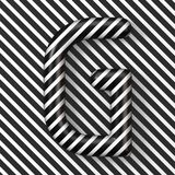 Black and white stripes Letter G 3D. Render illustration stock illustration