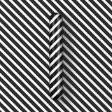 Black and white stripes Letter I 3D. Render illustration stock illustration