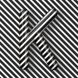 Black and white stripes Letter K 3D. Render illustration vector illustration