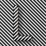 Black and white stripes Letter L 3D. Render illustration royalty free illustration