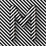 Black and white stripes Letter M 3D. Render illustration royalty free illustration