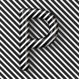 Black and white stripes Letter P 3D. Render illustration vector illustration