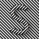 Black and white stripes Letter S 3D. Render illustration royalty free illustration
