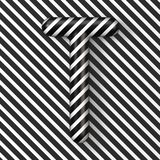 Black and white stripes Letter T 3D. Render illustration vector illustration