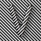 Black and white stripes Letter V 3D. Render illustration royalty free illustration