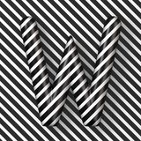 Black and white stripes Letter W 3D. Render illustration royalty free illustration