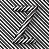 Black and white stripes Letter Z 3D. Render illustration royalty free illustration