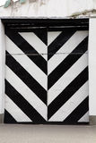 Black and white stripes metal door close up Royalty Free Stock Images