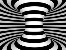 Black and White Stripes Projection on Torus. Royalty Free Stock Photos