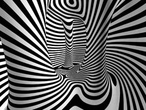 Black and White Stripes Projection on Torus. Black and White Stripes Projection on 3D Torus Royalty Free Stock Photo
