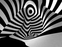 Black and White Stripes Projection on Torus. Black and White Stripes Projection on 3D Torus Stock Images