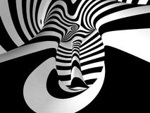 Black and White Stripes Projection on Torus. Stock Photo