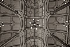 Black And White, Structure, Architecture, Symmetry Royalty Free Stock Image