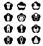 Black and white stuff for baby. Black and white stuff for the baby isolated on a white background in the form of icons Royalty Free Stock Images