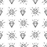 Black and white style diamonds background. Geometric seamless pattern with linear diamonds. Stock Photos