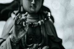 Black and white style. Hand of Guan Yin or Guan Yim, Buddha Statue Stock Images