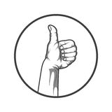 Black and white style hand with thumbs up. Vector illustration. Black and white style hand with thumbs up. Vector illustration Royalty Free Stock Photography