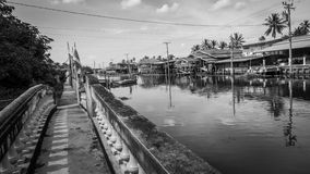 Black and white style image of Old house near river  in Nonthaburi, Thailand Royalty Free Stock Photos