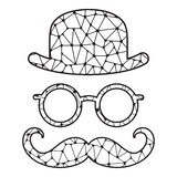 Black and white stylized bowler, glasses and mustache. Vector print isolated on white. Template for laser cutting Stock Photo