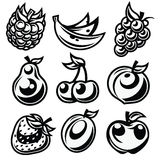 Black and White Stylized Fruit Icons Royalty Free Stock Photos